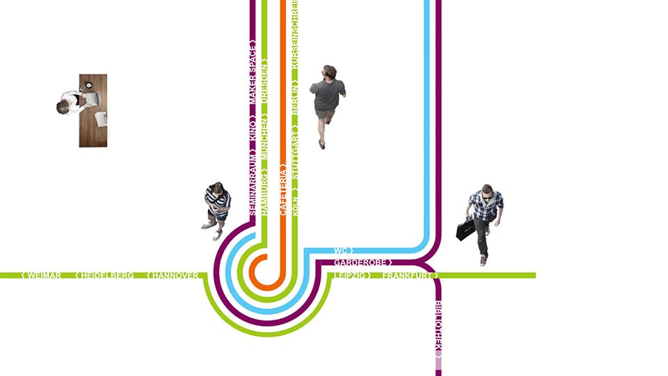 DAS GESUNDE MEDIENBÜRO – pandemietauglich und nachhaltig – kurz- und mittelfristige Maßnahmen – Wegeleitsystem im Goethe-Institut Moskau by CSMM